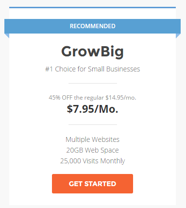 Get a discount on the SiteGround Growing Big plan