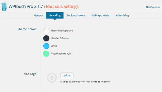 Change theme colors and upload custom logo from branding screen