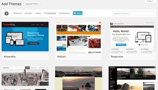 Add new theme screen in WordPress 3.9