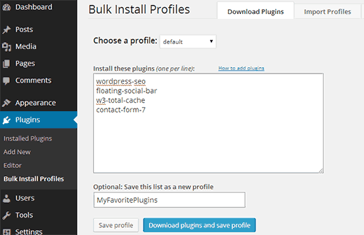 Creating a profile containing all your favorite plugins