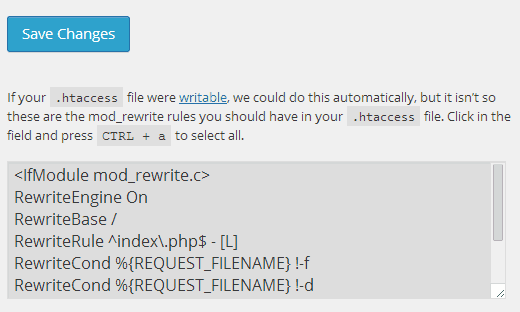 WordPress showing notification that .htaccess file is not writeable