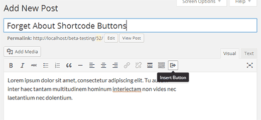 Insert Button button in Visual Editor