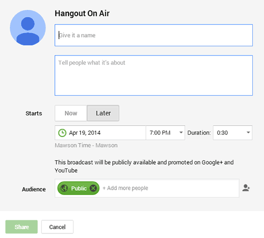 Enter your Hangout Details