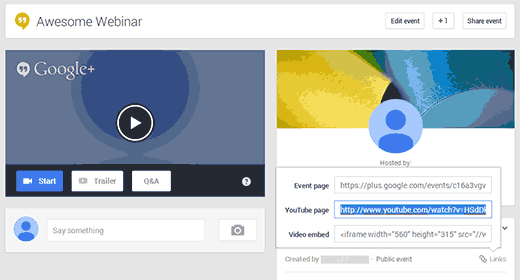 Getting your Google+ Hangout's YouTube URL to Embed in WordPress