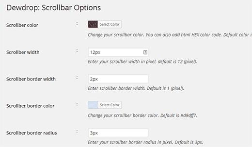 Choosing colors and borders for custom scrollbar
