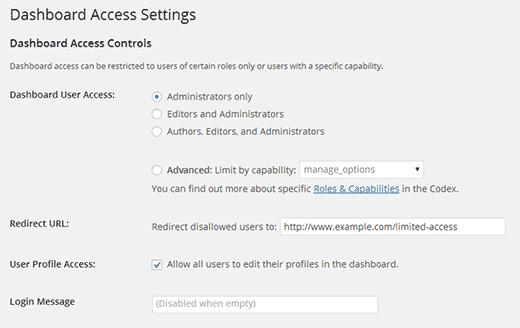 Configuring Limit Dashboard Access plugin