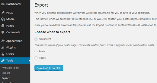 Exporting a single site from WordPress multisite network