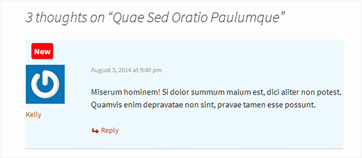 New comment highlighted in WordPress