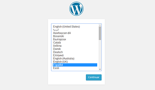 Choosing a language during WordPress installation