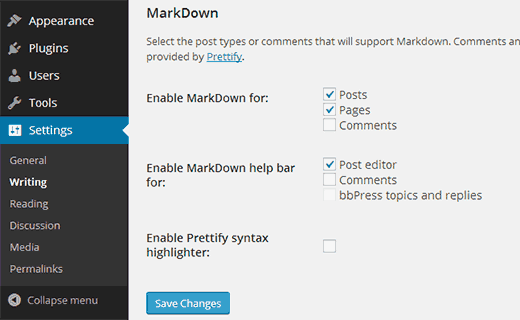 Enable Markdown for WordPress posts, pages, and comments