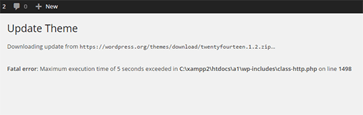 A WordPress site showing maximum execution time exceeded error