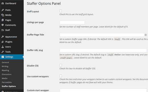 Staffer settings page