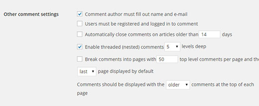Other Comment Settings section