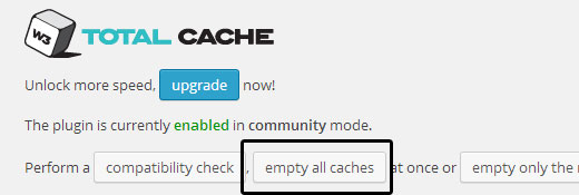 W3 Total Cache - Empty All Cache