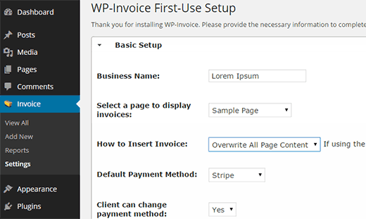 Configuring WP-Invoice settings