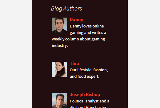 Authors list widget