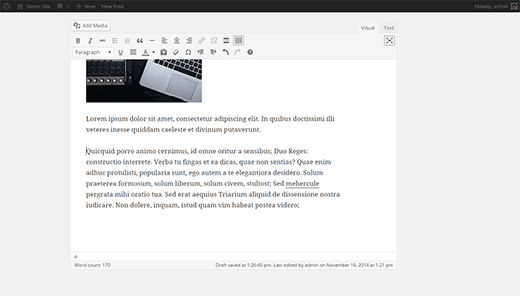 Distraction free editor in WordPress 4.1