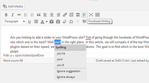 Spellcheck posts in WordPress