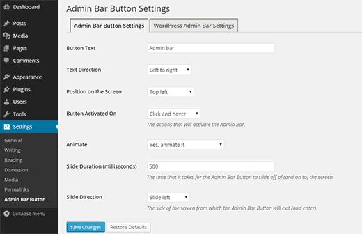 Configure the admin bar button settings