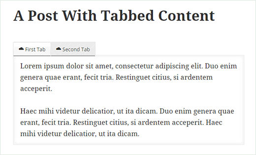 A WordPress post with tabbed content