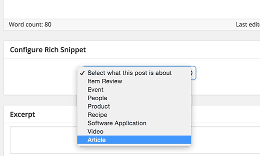 Choose a content type to add rich snippets to a WordPress post