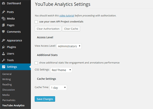 YouTube Analytics Settings