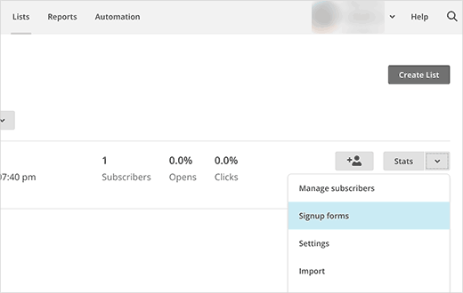Creating MailChimp email signup form