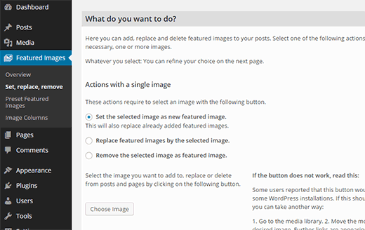 Bulk edit featured images in WordPress
