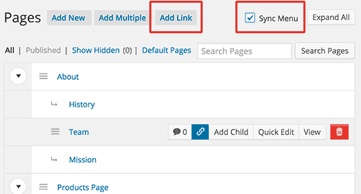 Sync your pages layout with your WordPress navigation menu