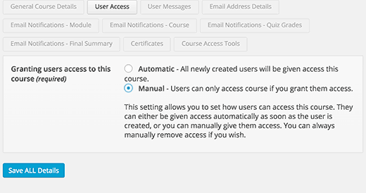 User access settings for a course