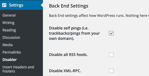 Disabler plugin settings page