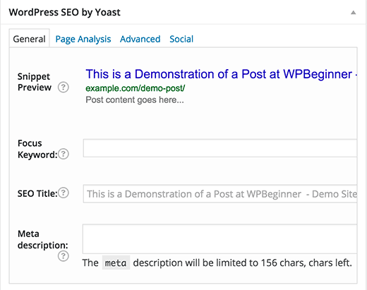 WordPress SEO settings for a post