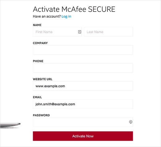Creating your McAfee SECURE account