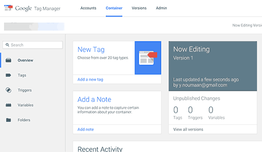 Image result for Google Tag Manager dashboard New Tag