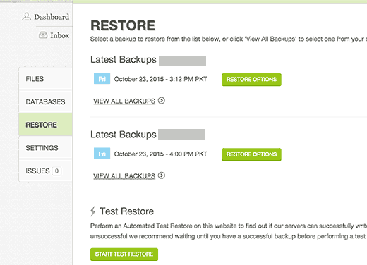 Site restore from backups on CodeGuard