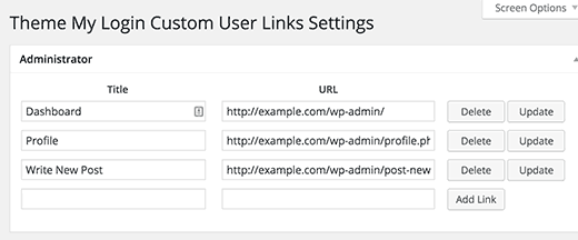 Adding custom links to Theme My Login widget