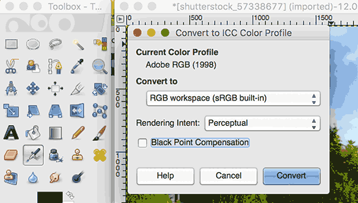 Converting color profile in GIMP