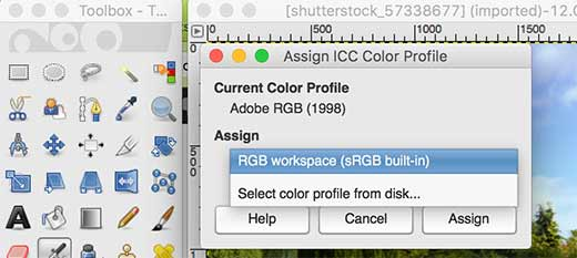 Assign color profile in GIMP
