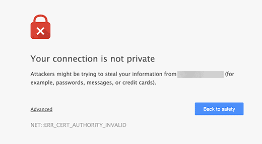 Unsecure connection warning in Google Chrome