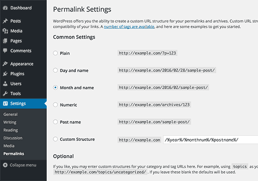 The permalinks settings page in WordPress