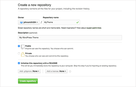 Creating a new repository for your WordPress theme on GitHub