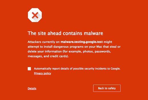 Malware warning in Google Chrome