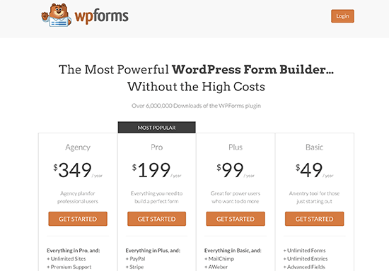 WPForms pricing page
