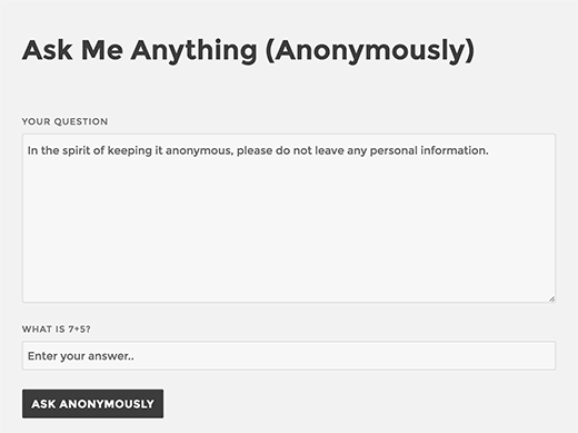 Ask me anything form