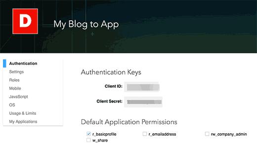 LinkedIn API Keys