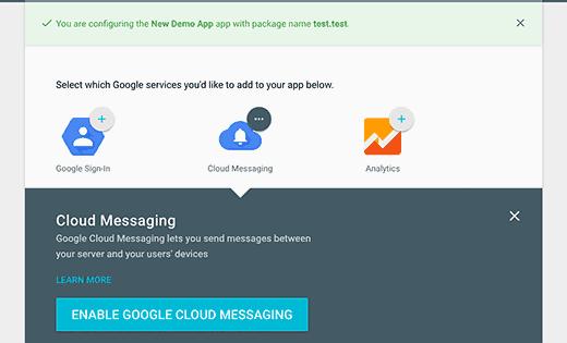 Enable cloud messaging