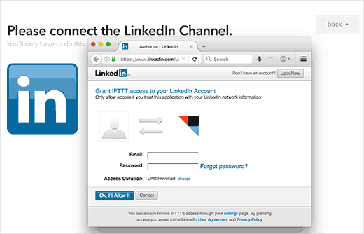 Authorize IFTTT to access your LinkedIn account