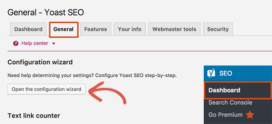 Launching Yoast SEO configuration wizard