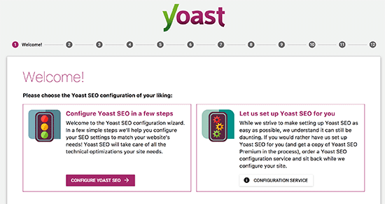 onfiguration wizard in Yoast SEO