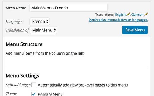 Translating a navigation menu